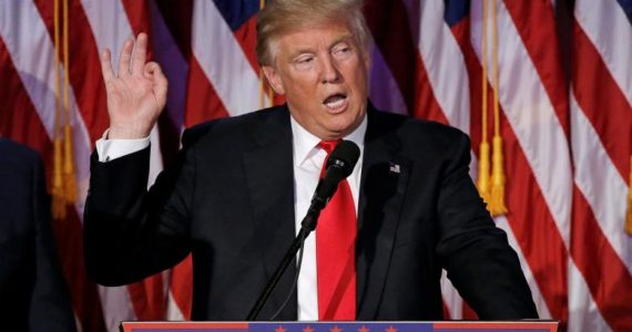 U.S. President-elect Donald Trump speaks at election night rally in Manhattan